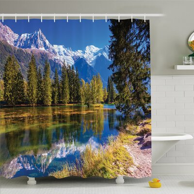 Lake Snow Covered Alps Fir Trees in Lake Serenity in Natural Paradise �Shower Curtain Set Size: 84 H x 69 W