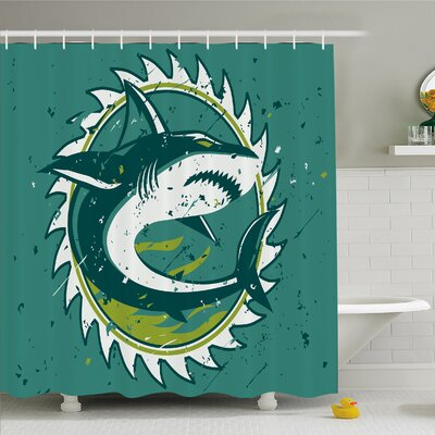Sea Animal Graphic of Shark Hunter in Dark Murky Colors Sharp Teeth Fish Marine Nautical Shower Curtain Set Size: 84 H x 69 W