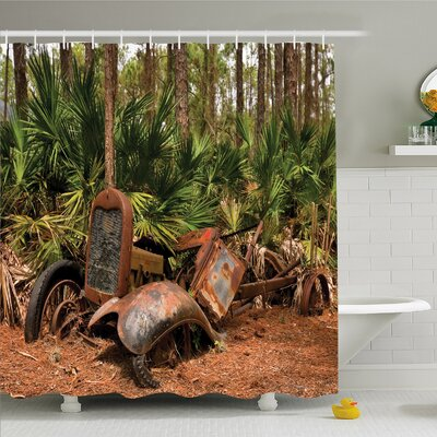 Rustic Home Rusty Tractor Mule Truck Deep in Forest with Tropical Palm Trees Image Shower Curtain Set Size: 75 H x 69 W