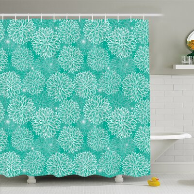 Dahlia Flower Repeating Figures Fashioned Dots Spots Mother Earth Peony Shower Curtain Set Size: 75 H x 69 W
