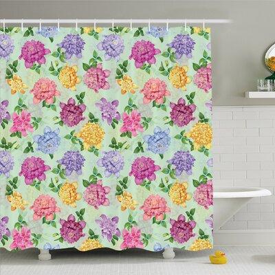 Vibrant Victorian Renaissance Medieval Motifs Retro Ombre Floret Design Shower Curtain Set Size: 75 H x 69 W
