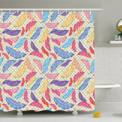 Different Vane Figures on Square Shape Striped Backdrop Print Shower Curtain Set Size: 70 H x 69 W
