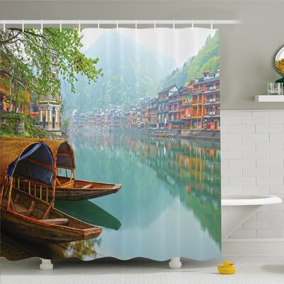 Nash, Old Chinese Suburbs Lake Canal with Wood Boats Foggy Asian Eastern Rural Scene Shower Curtain Set Size: 84 H x 69 W