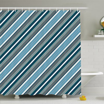 Striped Retro Style Diagonal Stripes Modern Design Home Decorations Image Shower Curtain Set Size: 70 H x 69 W