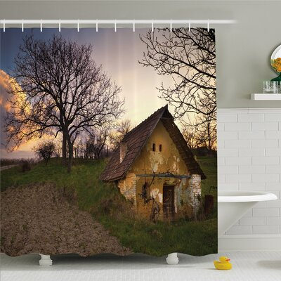 Rustic Home Battered Stone House in Field Messy Shed Building Provincial Pastoral Concept Shower Curtain Set Size: 70 H x 69 W