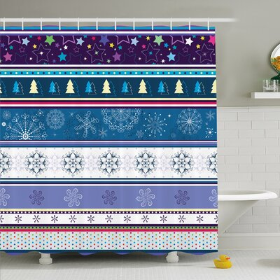 Striped Horizontal Mixed Christmas Elements Design with Dots Snowflakes Stars Retro Image Shower Curtain Set Size: 84 H x 69 W