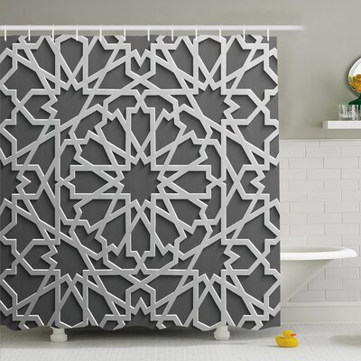 Traditional House Historic Moroccan Heraldic Empire Interlace Form with Mix of Star Flowers Shower Curtain Set Size: 70 H x 69 W