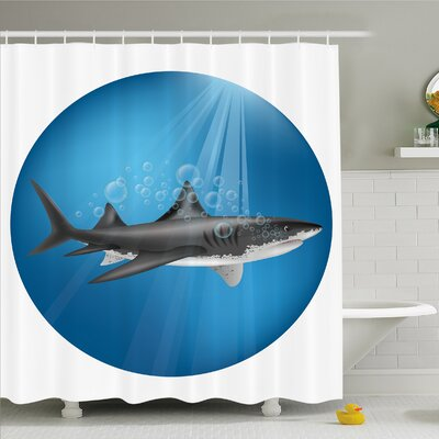 Sea Animal Shark in Sea with Sun Rays in Aquatic Underwater Creature Home Decor Shower Curtain Set Size: 84 H x 69 W