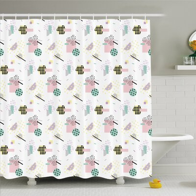 Modern Art Home Pastel Colored Diagonal and Hexagonal with Dots inside Hipster Kids Theme Shower Curtain Set Size: 70 H x 69 W