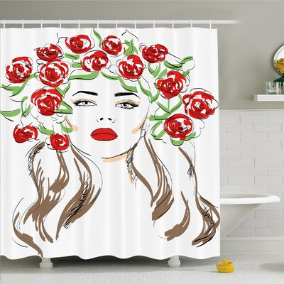 Fashion House Hand Drawn Lady with Roses on Hair Floral Ornamentals Natural Art �Shower Curtain Set Size: 75 H x 69 W