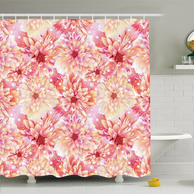 Bloom with Overlap Axis and Twist Bluntly Circle Pompons Shower Curtain Set Size: 84 H x 69 W