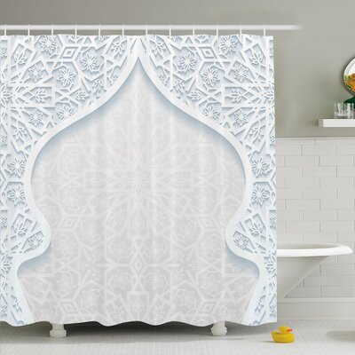 Traditional House Arabesque Arched Royal Persian Figure with Floral Cultural Graphic Shower Curtain Set Size: 75 H x 69 W