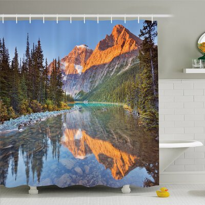 National Parks Home Canadian Rocky Mountain Range on Edith Cavell Lake Pastoral Image Shower Curtain Set Size: 75 H x 69 W