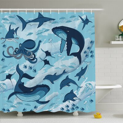 Sea Animal Inhabitants of Sea Whales Dolphins Octopus Jellyfish Starfish with Waves Image Shower Curtain Set Size: 75 H x 69 W
