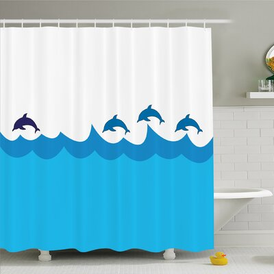 Sea Animals Lead and Three Dolphins Shadow on Waves Oceanlife Marine Image Shower Curtain Set Size: 75 H x 69 W