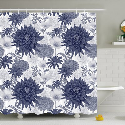 Dahlia Flower Dotted Digital Paint of Dahlias Botanical Curved Rolled Wild Ray Blunts Shower Curtain Set Size: 75 H x 69 W