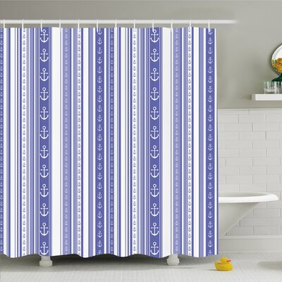 Striped Nautical Anchor Icons Tape Motifs Sea Life Contrast Strips Maritime Artwork Shower Curtain Set Size: 75 H x 69 W