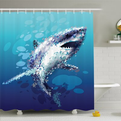 Sea Animal Digital Psychedelic Shark Figure with Droplets Scary Atlantic Beast Shower Curtain Set Size: 75 H x 69 W