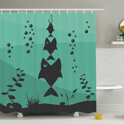 Fish Eats Little in Bubbles Underwater Ocean Symbolic Icons Theme Shower Curtain Set Size: 84 H x 69 W