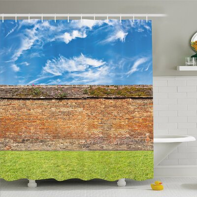Rustic Home Horizontal High Brick Wall Field Dramatic Symbol Architecture Shower Curtain Set Size: 84 H x 69 W