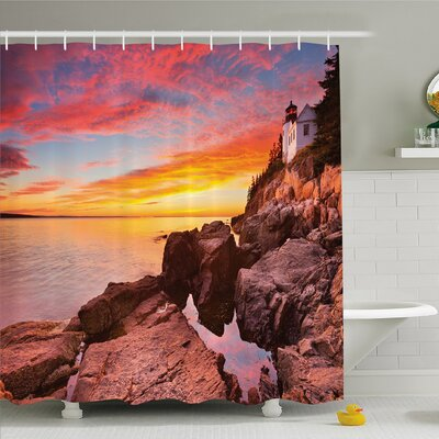 National Parks Home Lighthouse on the Harbor Sea Shore with Horizon Sky New England Design Shower Curtain Set Size: 84 H x 69 W