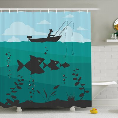 Fishing Man in Boat Luring with Bobbins Nautical Marine Sea Nature Funky Image Shower Curtain Set Size: 70 H x 69 W