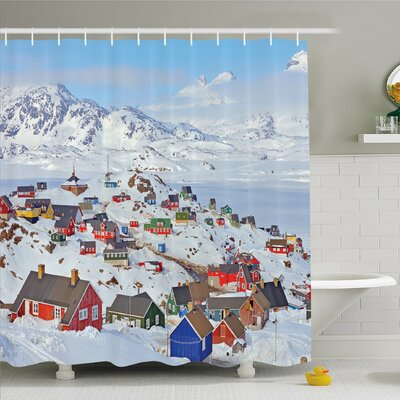 Farm House, Snowy Greenland North Scandinavian Peace Frozen Winter Nordic Idyllic Image Shower Curtain Set Size: 75 H x 69 W