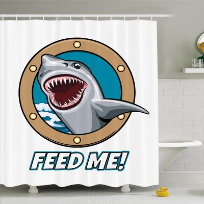 Sea Animal Funny Vintage Quote with Hungry Hound Shark Head in Ship Window Humor Print Shower Curtain Set Size: 70 H x 69 W