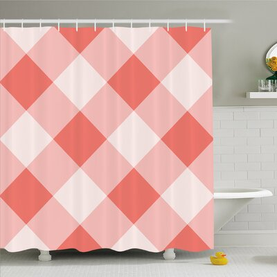 Vintage Peach Echo Geometrical Mosaic Diagonal Fractal Tartan Bands Figure Image Shower Curtain Set Size: 70 H x 69 W
