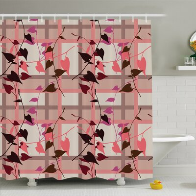 Heart Shaped Swirling Leaves over Striped Square Lines Urban Life Graphic Image Shower Curtain Set Size: 84 H x 69 W