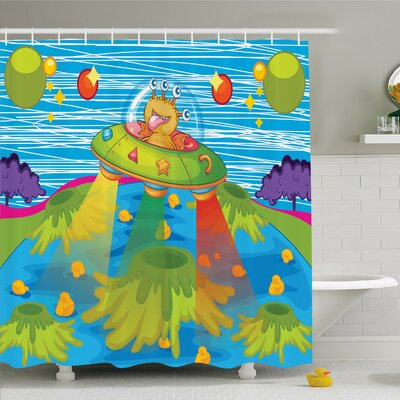 Outer Space For Kids Scary Monster in UFO on Planet Solar System Galaxy Funky Back Shower Curtain Set Size: 70 H x 69 W