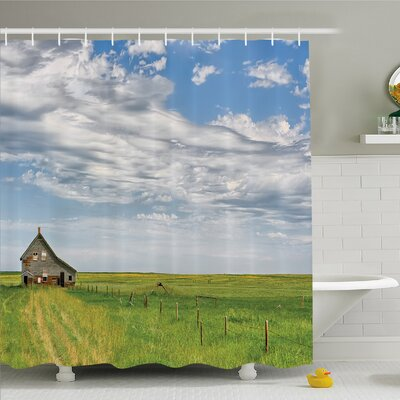 Rustic Home Canadian Timber House in Terrain Grassland with Clouds in Air Landscape Shower Curtain Set Size: 70 H x 69 W