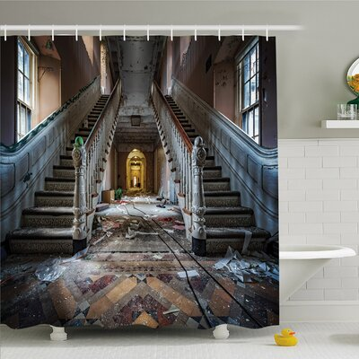 Rustic Home Main Entrance Hallway of Ravaged Opera House with Symmetric Stairs Photo Shower Curtain Set Size: 84 H x 69 W