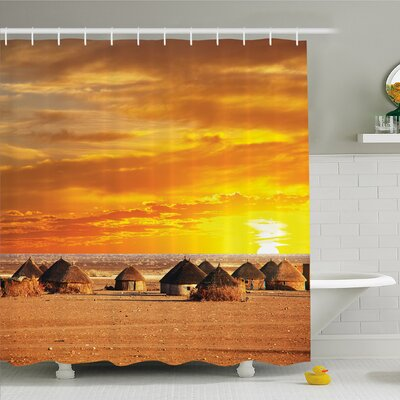 Nash, African Landscape of a Small Town with Horizon Skyline at Dawn Ethiopian Photo Shower Curtain Set Size: 70 H x 69 W