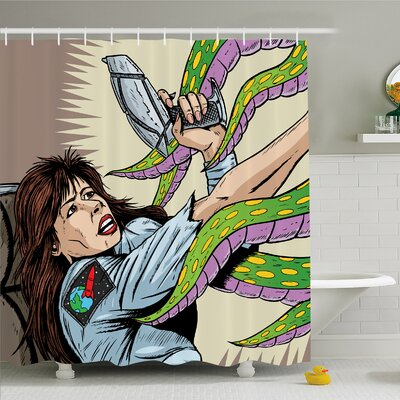 Outer Space Alien Attacks Terrified Uniform Woman Human against Monster Sci Fi Discovery Shower Curtain Set Size: 84 H x 69 W