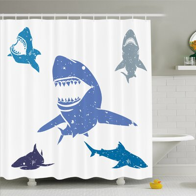 Sea Animal Grunge Style Sharks with Open Mouth Predator Jaws Image Shower Curtain Set Size: 84 H x 69 W