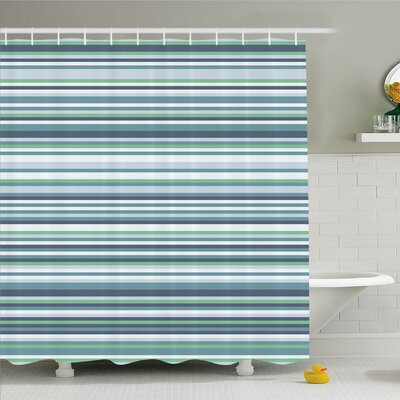 Striped Abstract Narrow Bands Group of Long Same Bars Vintage Geometric Artwork Image Shower Curtain Set Size: 70 H x 69 W