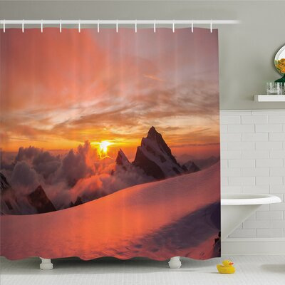 Lake Sunrise in Swiss Alps with Magical View of Mountain Natural Paradise Shower Curtain Set Size: 75 H x 69 W