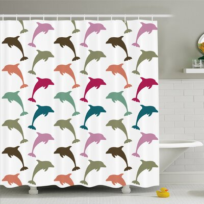 Sea Animals Colorful Dolphin Figures on Background Ocean Marine Animal Shower Curtain Set Size: 75 H x 69 W