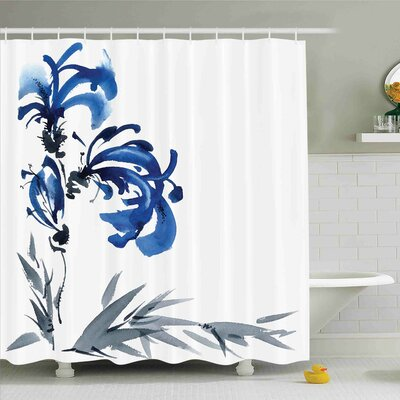Traditional House Watercolors Eastern Floral Motif Brushstroke Effect Shower Curtain Set Size: 70 H x 69 W