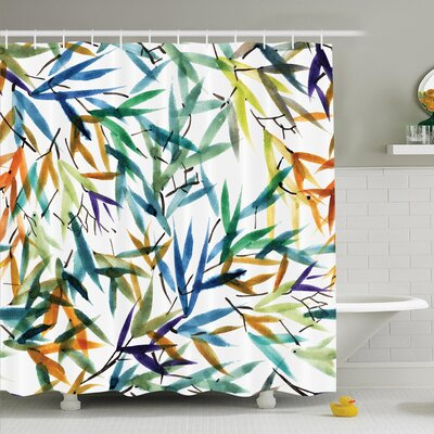 Traditional House Decorative Colorful Bamboo Leaves Hand Drawn Spiritual Plants Picture Shower Curtain Set Size: 75 H x 69 W