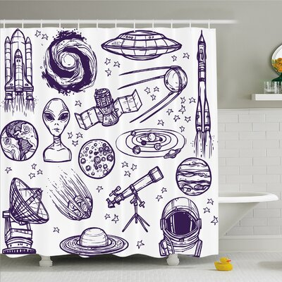 Outer Space Minimalist Space Graphic Satellite Orbit Radar Saturn Telescope Space Shower Curtain Set Size: 70 H x 69 W