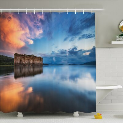 Rustic Home Epic Long Exposure European Church in Dam with Water Historic Landmark Shower Curtain Set Size: 70 H x 69 W