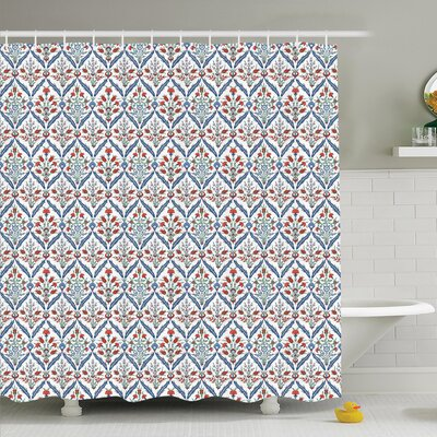 Traditional House Turkish Ceramic Tulip with Cultural Ottoman Royal Lines Design Shower Curtain Set Size: 75 H x 69 W