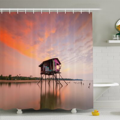 Rustic Home House at Sunset after Flash Flood Water in Asian Malaysian Village Shower Curtain Set Size: 70 H x 69 W
