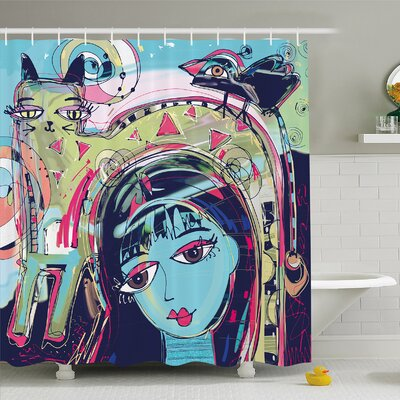Modern Art Home Funk Style Avatar Woman with Cat on Head Graffiti Unusual Human Humor Art Shower Curtain Set Size: 75 H x 69 W