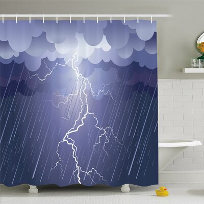 Home Lightning Strike Thunderstorm in Air at Dark Night Rainy Electric Force Flashes Image Shower Curtain Set Size: 70 H x 69 W