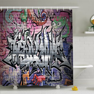 Rustic Home Graffiti Grunge Art Wall Creepy Underground City Paint Shower Curtain Set Size: 84 H x 69 W