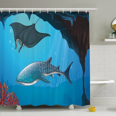 Sea Animal Shark Deep Water Stingray with Coral Reefs Algae Rocky Cave Exotic Cartoon Shower Curtain Set Size: 70 H x 69 W