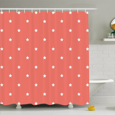 Minimalist Neat Star on Empty Outer Space Elements Greeting Design Image Shower Curtain Set Size: 70 H x 69 W